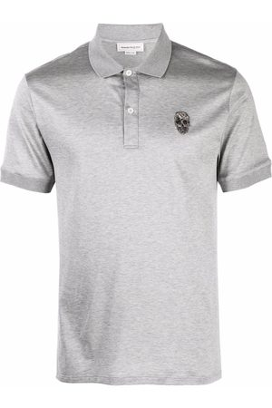 Alexander McQueen Men Polo Shirts - Skull-embroidered polo shirt - Grey