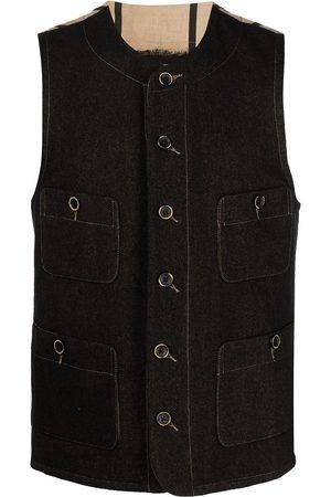 UMA WANG Contrasting-panel buttoned waistcoat