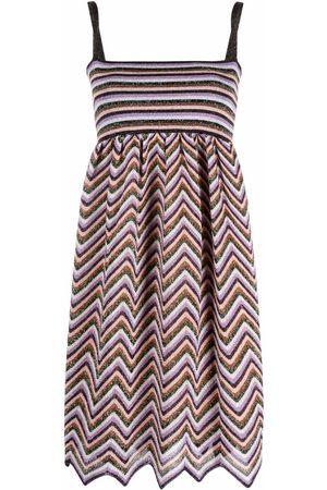 M Missoni Metallic zigzag stripe-knit mini dress