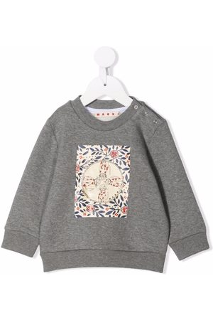 Marni Cat-print cotton sweatshirt - Grey