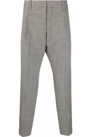 Dsquared2 Men Formal Pants - Houndstooth-patterned cropped tailored trousers
