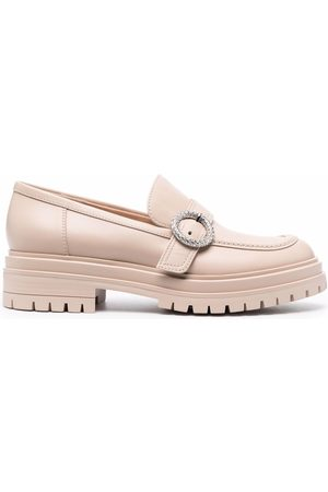 Gianvito Rossi Buckled chunky loafers - Neutrals