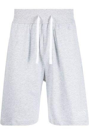 HUGO BOSS Tape-detail logo-print track shorts - Grey