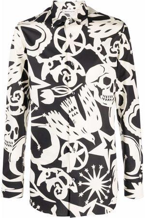 Alexander McQueen Men Long sleeves - Papercut-print long-sleeve shirt