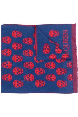 Alexander McQueen Skull-embroidered wool scarf