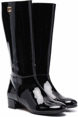 Dolce & Gabbana Logo-plaque high-shine boots