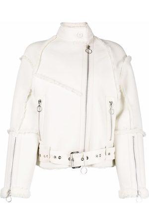 DROME Shearling-trimmed leather biker jacket