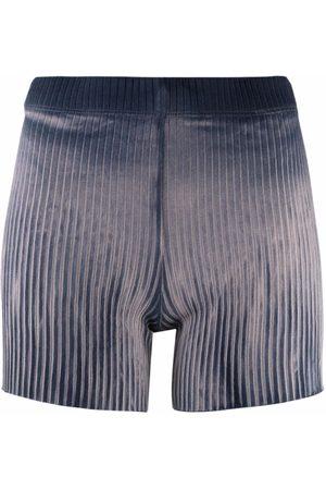 Cotton Citizen Pleated velvet-effect shorts