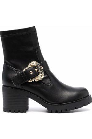 VERSACE Women Heeled Boots - Decorative-buckle block-heel boots