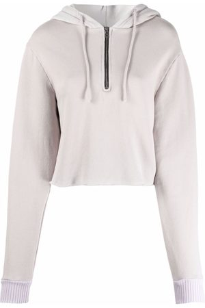Cotton Citizen Front-zip cropped hoodie - Grey