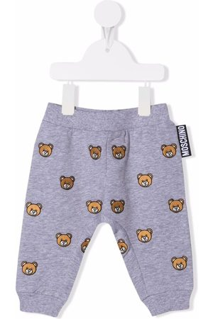 Moschino Embroidered teddy bear track pants - Grey