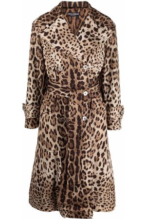 Dolce & Gabbana Women Trench Coats - Leopard-print belted trench coat