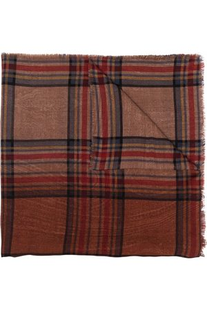 Etro Plaid long wool scarf