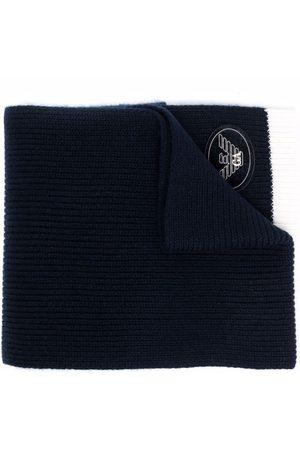 Emporio Armani Ribbed-knit logo-patch scarf