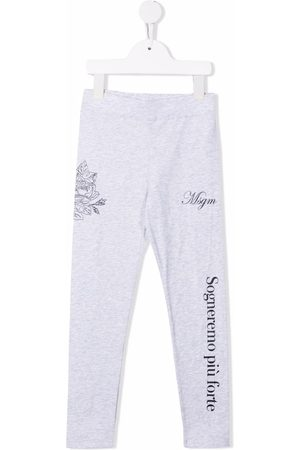 Msgm Girls Leggings - Slogan-print stretch-cotton leggings - Grey