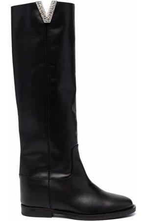Via Roma Women Thigh High Boots - Logo-plaque knee-length boots