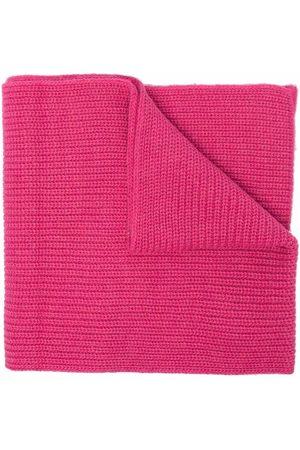 Msgm Ribbed-knit logo patch scarf