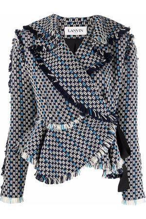 Lanvin Geometric-pattern wrap-around jacket