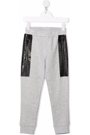 Stella McCartney Boys Sweatpants - Contrasting-panel track pants - Grey