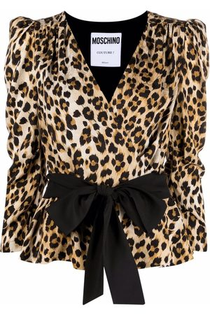 Moschino Wrap-style leopard blouse - Neutrals