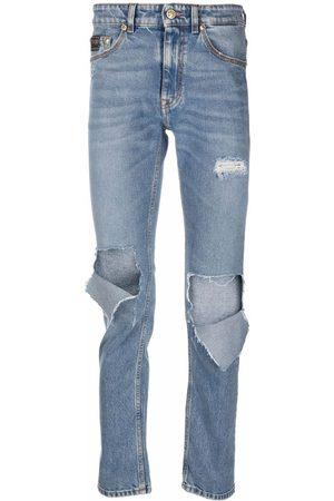 VERSACE Men Straight - Distressed straight-leg jeans