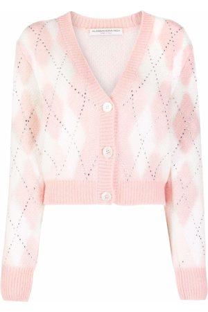 Alessandra Rich Women Cardigans - Crystal-embellished argyle cropped cardigan