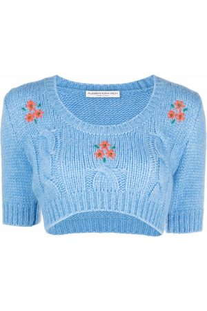 Alessandra Rich Embroidered cable-knit crop top