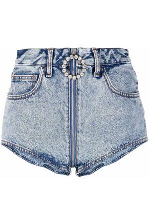 Alessandra Rich Crystal-embellished zip-pull denim shorts