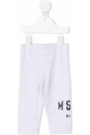 Msgm Logo-print cotton leggings - Grey