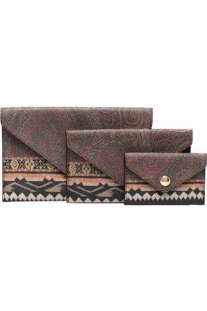 Etro Mix-print faux-leather wallet set