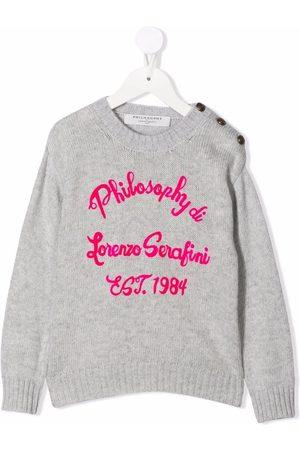 PHILOSOPHY DI LORENZO SERAFINI Girls Sweaters - Logo-print jumper - Grey
