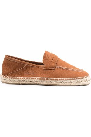MANEBI Men Espadrilles - Contrast-stitching leather espadrilles