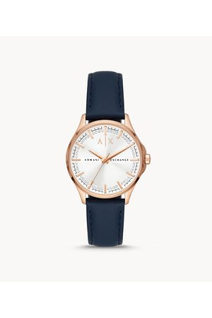 Womens Women Watches - Armani Exchange Women's Three-Hand Leather Watch