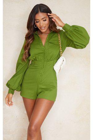 PRETTYLITTLETHING Olive Linen Look Shirt Romper