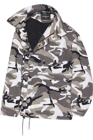 Balenciaga Off-Shoulder Camo-Print Military Parka Grey