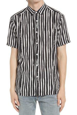 Topman Men's Watercolor Stripe Short Sleeve Button-Up Shirt