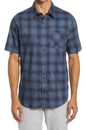 Travis Mathew Men's Blowin Up Plaid Stretch Short Sleeve Button-Up Shirt