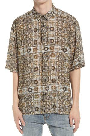 Topman Men's Bandana Print Short Sleeve Button-Up Shirt