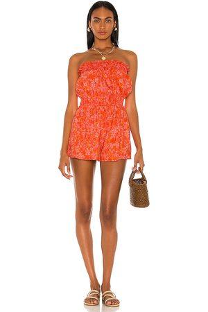 Lovers + Friends Women T-shirts - Reston Romper in Orange.