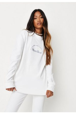 Missguided Rib Manifest Sweatshirt And Leggings Loungewear Set