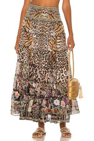 Camilla Women Midi Skirts - Shirred Waist Tiered Circle Skirt in Brown.