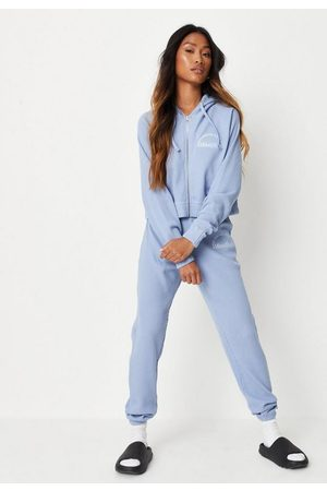 Missguided Waffle Manifest Zip Hoodie And Joggers Loungewear Set