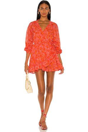Lovers + Friends Reston Wrap Dress in Tangerine.