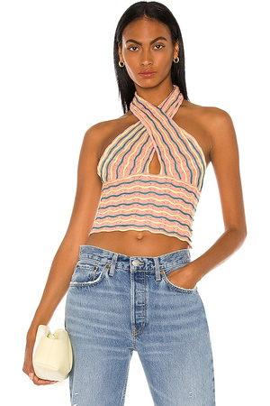 Bardot Summer Loving Halter Top in Peach.