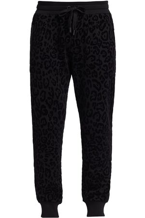 Dolce & Gabbana Tonal Leopard Flocked-Print Joggers