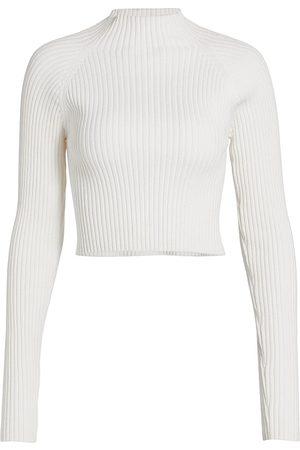 ALICE+OLIVIA Irena Rib-Knit Cropped Sweater