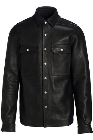 Rick Owens Classic Collared Leather Jacket