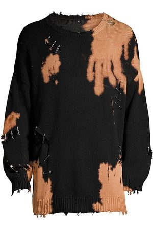 R13 Bleached Distressed Crewneck Sweater
