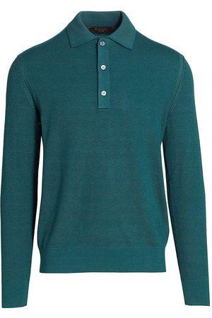 Loro Piana Silk & Cashmere Long-Sleeve Polo Shirt