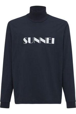 SUNNEI Men Turtlenecks - Printed Logo Cotton Turtleneck T-shirt